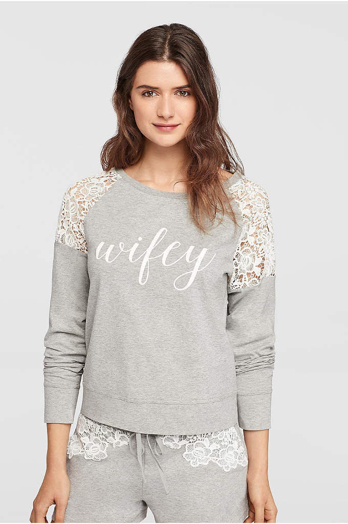 Wifey Lace Sweatshirt - Lounge like a new wife in style with
