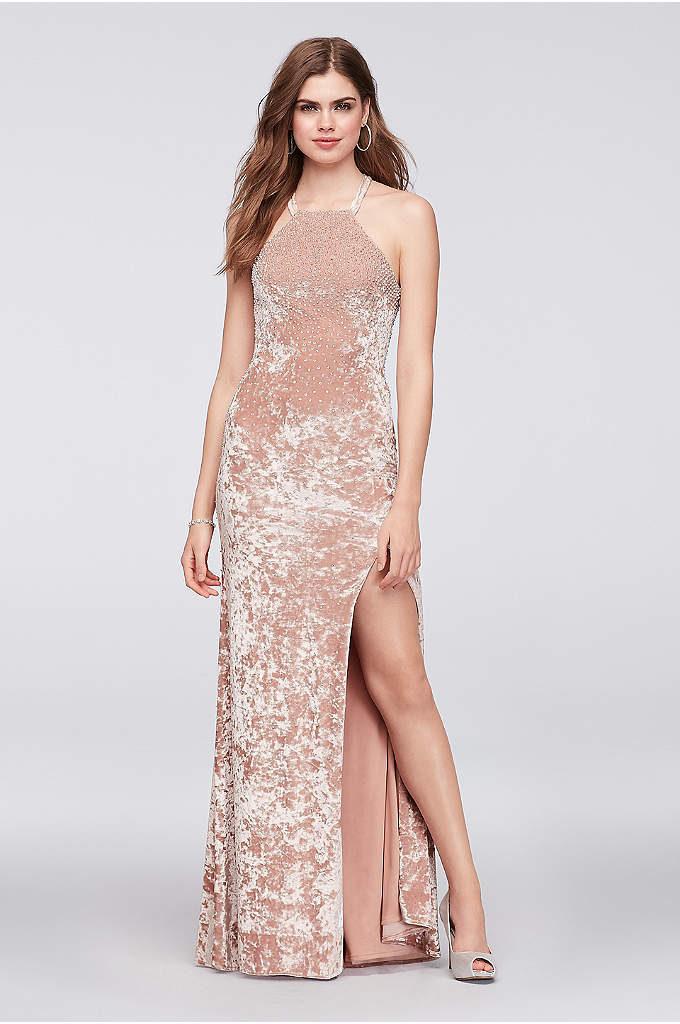 Crushed Velvet Halter Sheath Gown with Beading - Chic and sleek, this strappy-back halter sheath gown