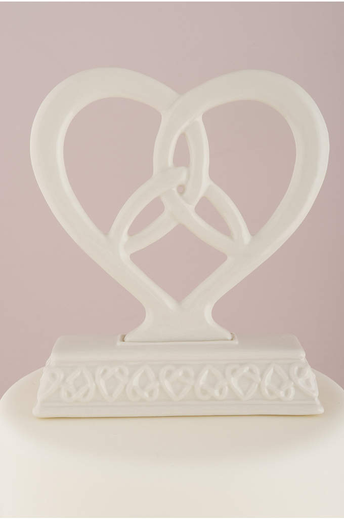 Heart Framed Trinity Knot Cake Topper - This Glazed Porcelain Figurine has a Traditional Irish