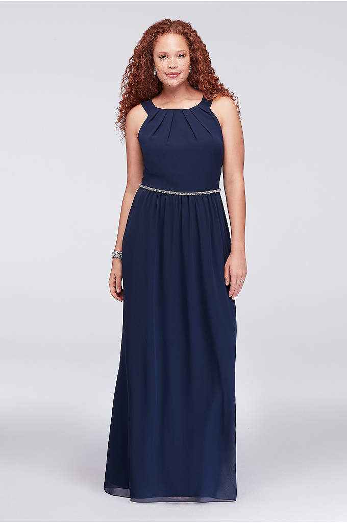 Pleated Round-Neck Plus Size Gown with Bead Waist - Details like a pleated neckline and jeweled waist