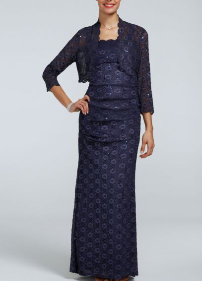 3/4 Sleeve Lace Bolero with All Over Lace Dress 6112459