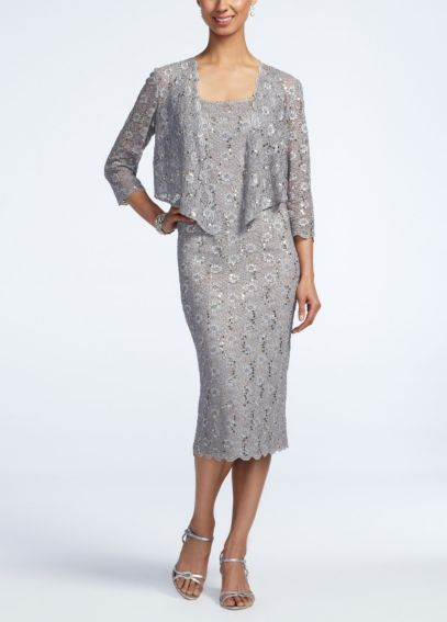 3/4 Sleeve Tea Length Lace Jacket Dress 6112611