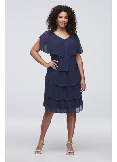 Short Blue Soft & Flowy SL Fashions Bridesmaid Dress