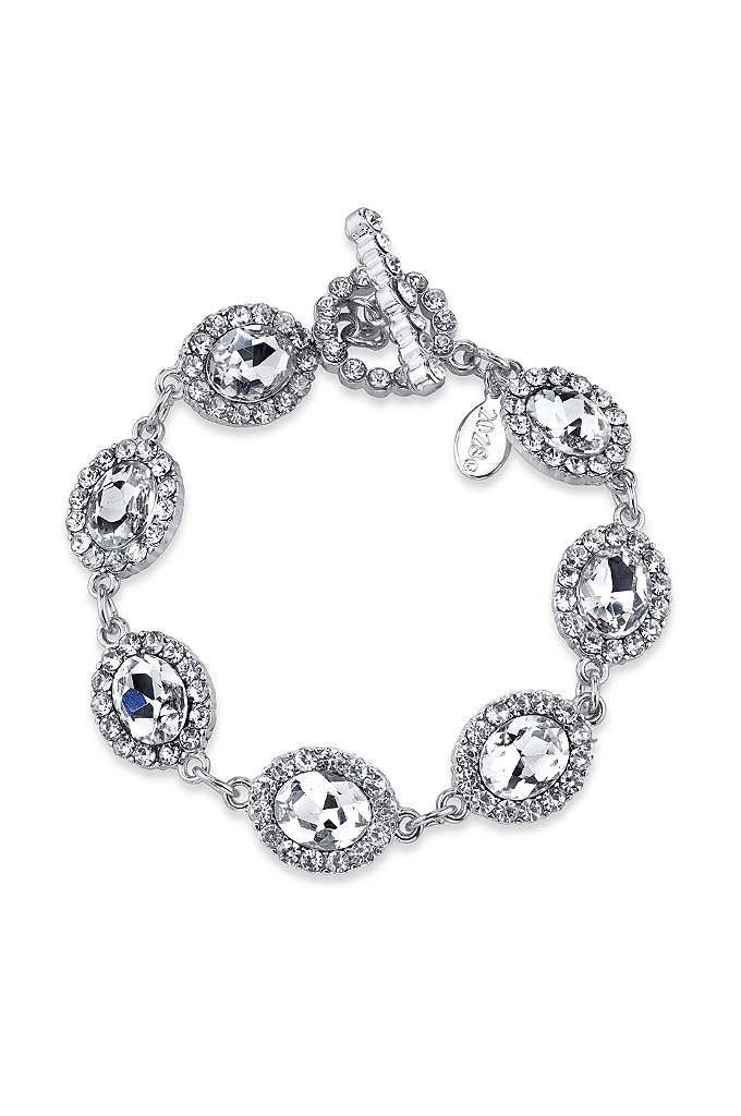 Oval Crystal Link Toggle Bracelet - Glittering clear crystals create a sparkling bracelet that