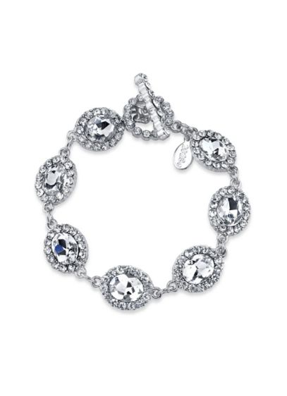 Oval Crystal Link Toggle Bracelet - Wedding Accessories