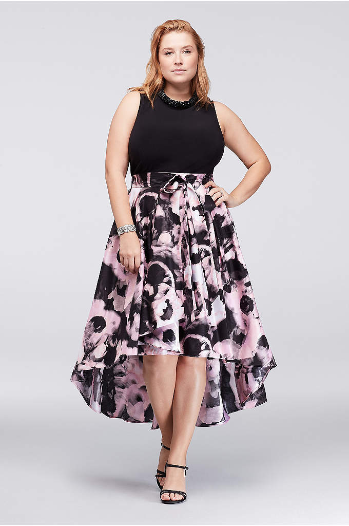 Printed Mikado Plus Size Dress with Beaded Neck - This plus-size dress lets you skip the necklace,