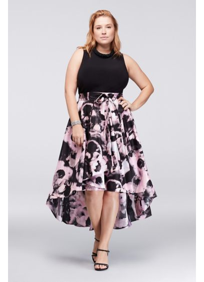 Printed mikado plus size dress with beaded neck davids for Starting a wedding dress business