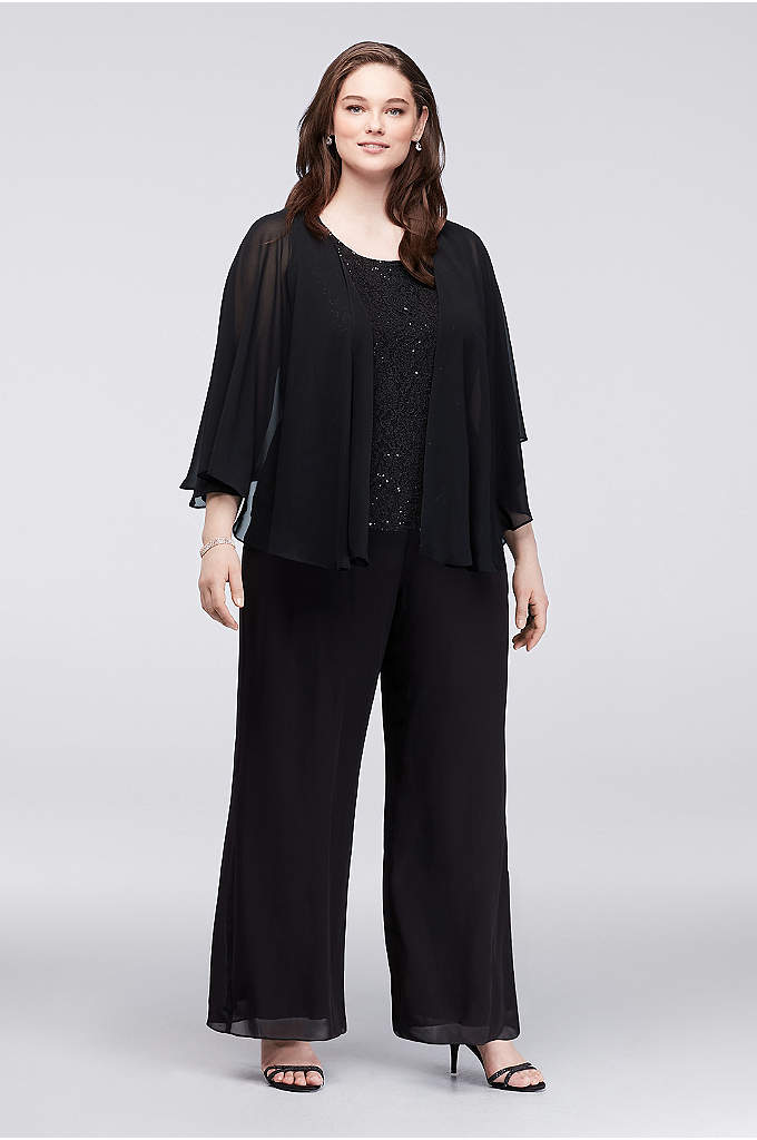 Sequin Lace and Chiffon Plus Size Pant Suit - Three-piece ensembles are the stylish-yet-comfortable choice that every