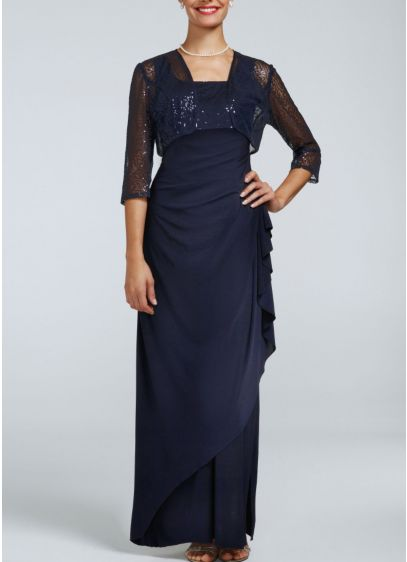 Long Sheath Jacket Graduation Dress - SL Fashions
