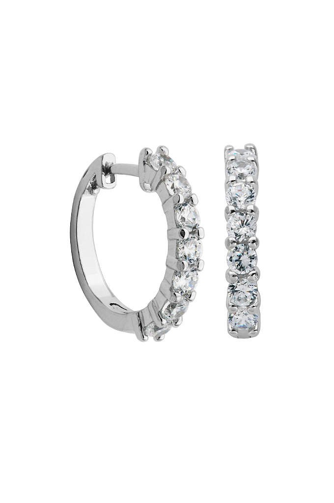 Sterling Silver and Cubic Zirconia Huggie Hoops - The perfect combination of minimalism and bling, these