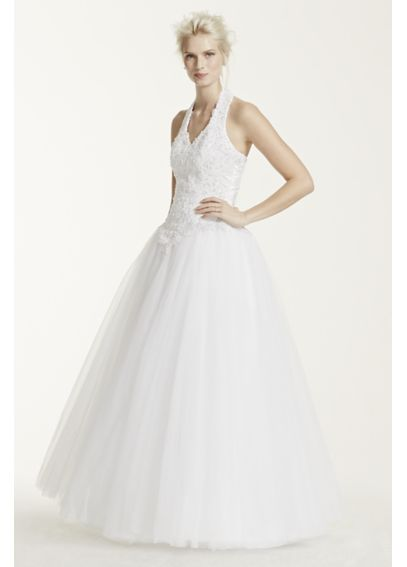 Tulle Ballgown with Satin Beaded Halter Bodice 6280