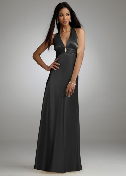 Long Charmeuse Halter Dress with Brooch 636857T