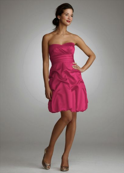 Strapless Satin Dress with Pick Ups and Bubble Hem 639976