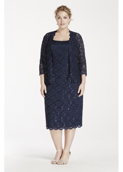 All Over Lace Tank dress with 3/4 Sleeve Jacket 64121025