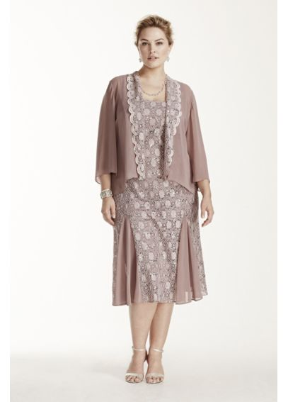 Tea Length Lace Jacket Dress with 3/4 Sleeves 6412945