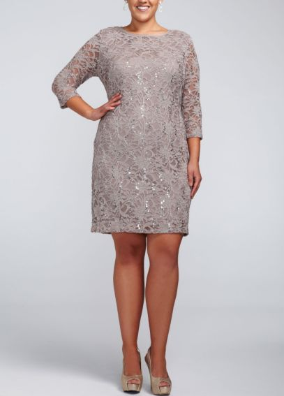 Long Sleeve Short Lace Dress with Sequins 642869W