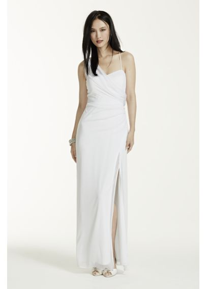 Long One Shoulder Sheer Matte Jersey Dress  643653DB