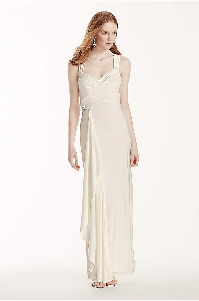 Long Jersey Sheath Dress with Crisscross Back - A nod to an era past, this breathtaking