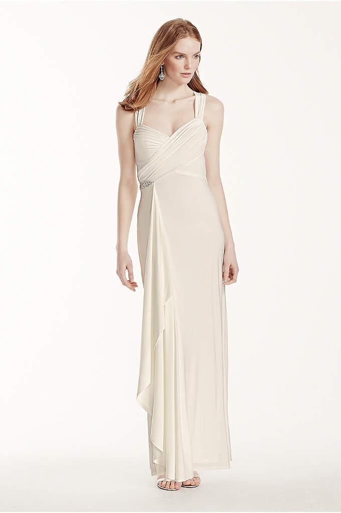 Long Jersey Sheath Dress with Crisscross Back - A nod to an era past, this breathtaking
