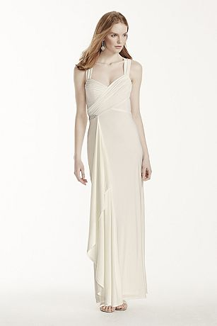 Long Jersey Sheath Dress with Crisscross Back