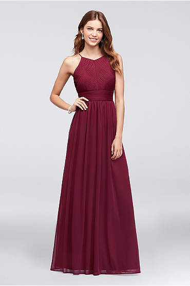 Micro-Pleated Mesh Halter Bridesmaid Dress