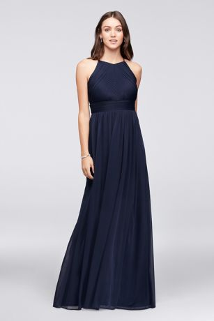 Micro-pleated mesh halter bridesmaid dress