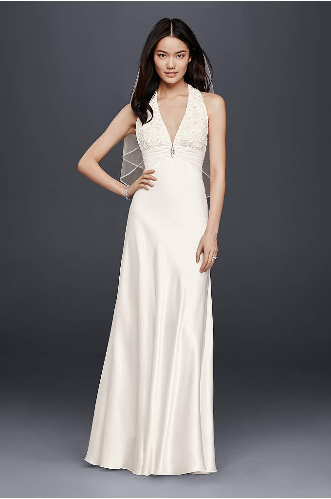 Charmeuse Sheath Wedding Dress with Lace Halter - You'll look and feel incredible all day in