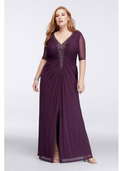 Plus Size Dress with Illusion Sleeves and Ruching 644928L