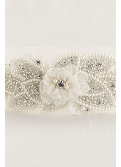 Tulle Headwrap with Pearls and Flowers - Wedding Accessories