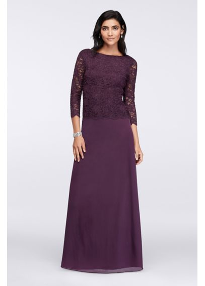 Long-Sleeve Lace Bodice Dress with Bateau Neckline 648693
