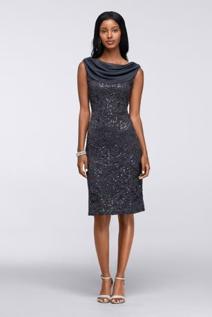 Short Sleeveless Stretch Sequin Lace Cowl Dress | David's Bridal