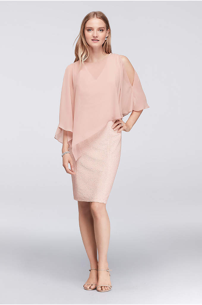 Textured V-Neck Shift Dress with Chiffon Cape - The glittery sparkle of this textured stretch jersey