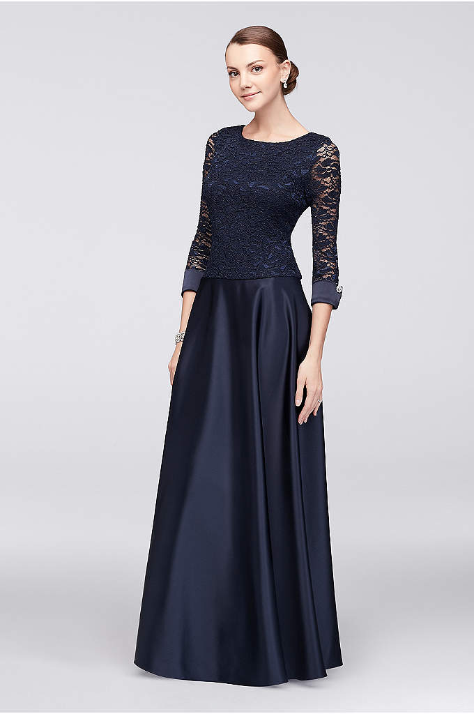 3/4 Sleeve Lace and Satin Dress with Gem - An elegant style for the mother of the