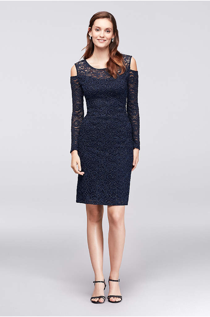 Cold-Shoulder Illusion Lace Cocktail Dress - This long-sleeved illusion lace cocktail dress is a