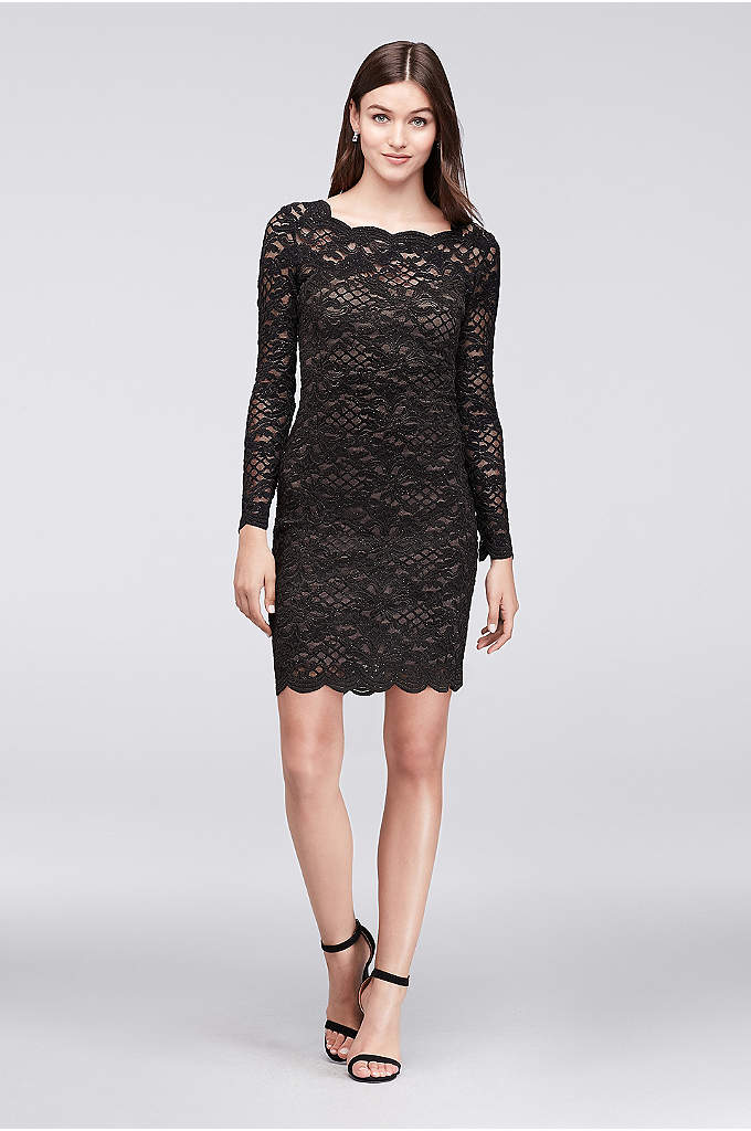 Long-Sleeve Scalloped Lace Cocktail Dress - Need a classic dress for your next cocktail