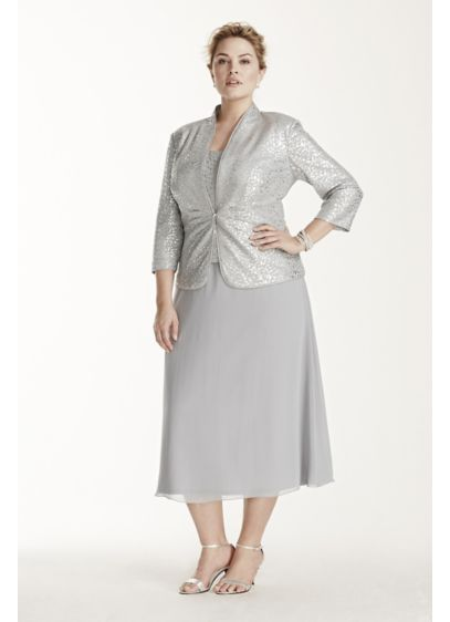 Tea Length Sheath Jacket Mother and Special Guest Dress - Alex Evenings