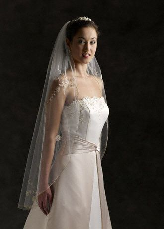 Fingertip Length Veil with Metallic Pencil Edge - This elegant one-tier veil features a metallic pencil
