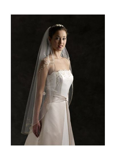 Fingertip Length Veil with Metallic Pencil Edge - Wedding Accessories