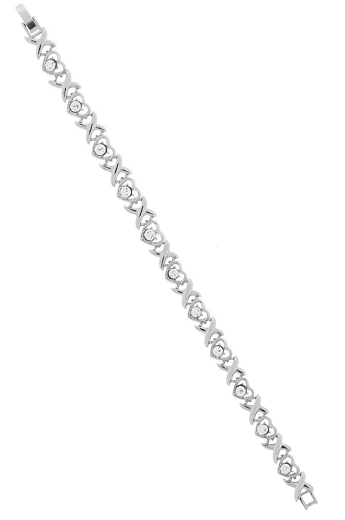 Crystal Heart Link Bracelet - Add a touch of sparkle with this stunning