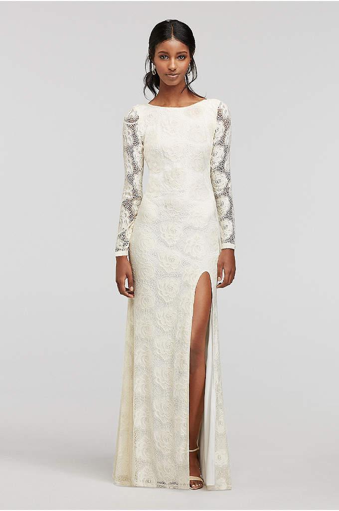 Longsleeve Lace Dress with Side Slit