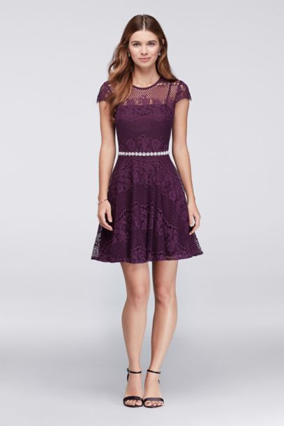 lace dress with beaded waist and short cap sleeve david