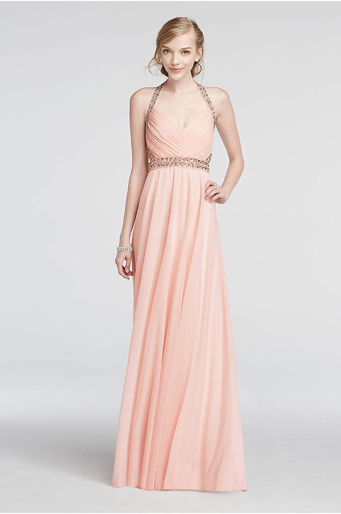 Halter Mesh Prom Dress with Beaded Waist