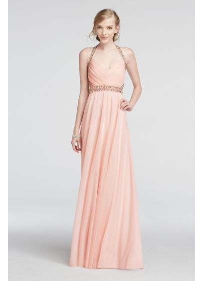 Long A-Line Halter Prom Dress - My Michelle