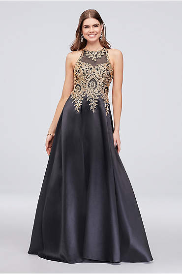 Metallic Embroidered High-Neck Mikado Ball Gown