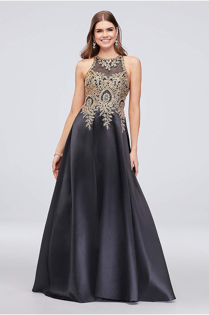 Metallic Embroidered High-Neck Mikado Ball Gown - You'll look like a queen in this regal