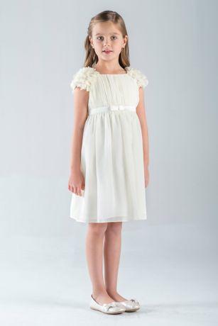 Petal Sleeve Chiffon A Line Flower Girl Dress David S Bridal