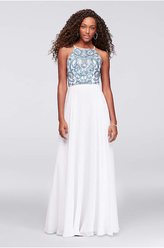 Embroidered High-Neck Chiffon Gown - Gorgeous floral filigree embroidery in shades of blue