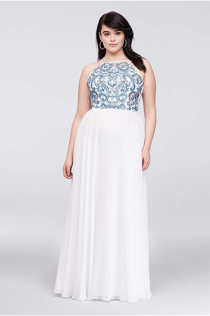 Embroidered High-Neck Chiffon Plus Size Gown - Gorgeous floral filigree embroidery in shades of blue