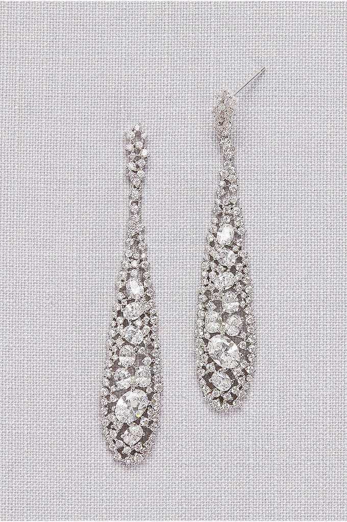 Long Crystal Pave Drop Earrings - A beautiful combination of pin-point pave crystals and
