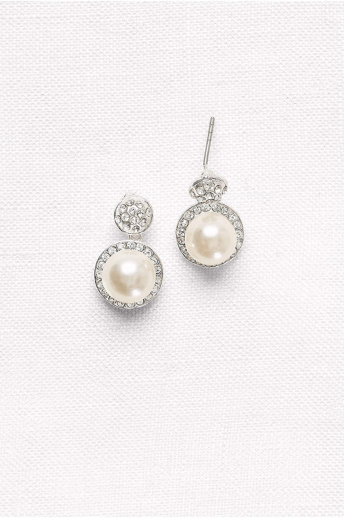 Pave Pearl Drop Earrings - Dainty and ladylike, pave-surrounded pearl drops are classic